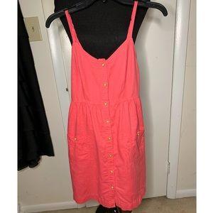 Aerie Linen Button Down Sundress Orange Coral